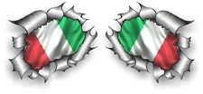 Small Pair STD RIP Ripped Torn Metal Italy Italian il Tricolore Flag car sticker