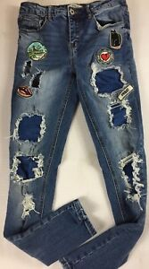 Grumpy-Cat-Jeans-Womens-25-Skinny-27-x-29-Actual-Patch-Distressed-Love-More-Lips