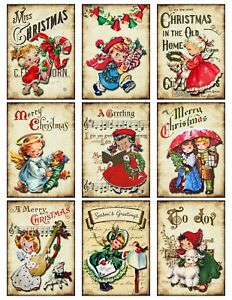Cute-Vintage-Retro-Christmas-Card-Toppers-Scrapbooking-Crafting