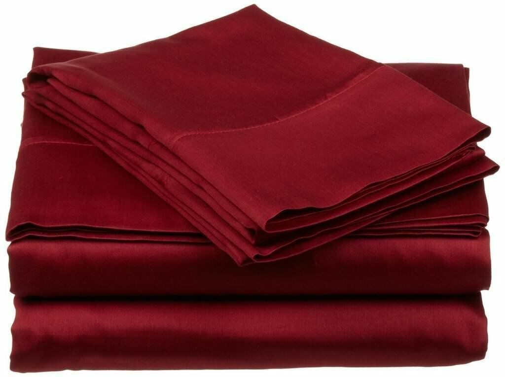 Top Bedding collection Burgundy Solid Cotton 800-TC 15  Drop All Size Available