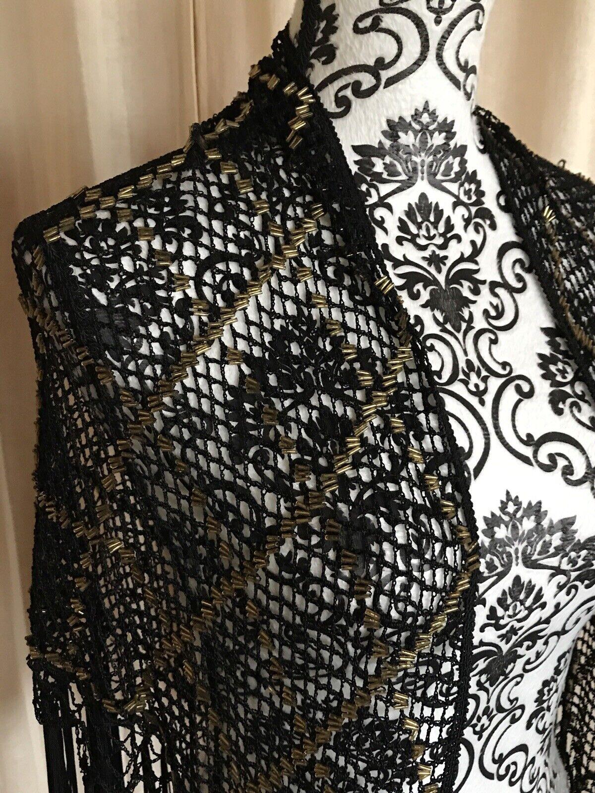 Daniele Meucci Black Crochet Knit GOLD Beaded Fri… - image 4