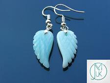 Amazonite Angel Wing Gemstone Earrings Natural Quartz Chakra Healing Stone Reiki