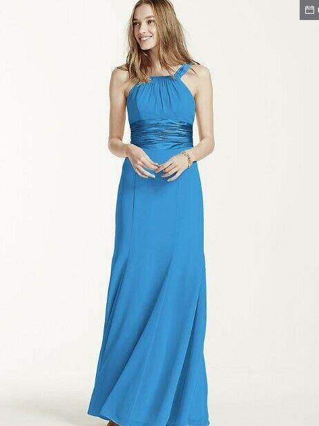 David's Malibu Blue Chiffon Bridesmaid Bridal Dress Size 4 Sz (worn once)