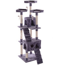 "67"" Cat Tree Pet Scratching Post  Tower Condo Furniture Kitty Play House Gray"