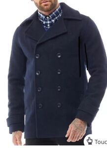 687002f6cb26 Fred Perry Mens Classic Wool Pea Coat Navy XL - RRP £274 ...