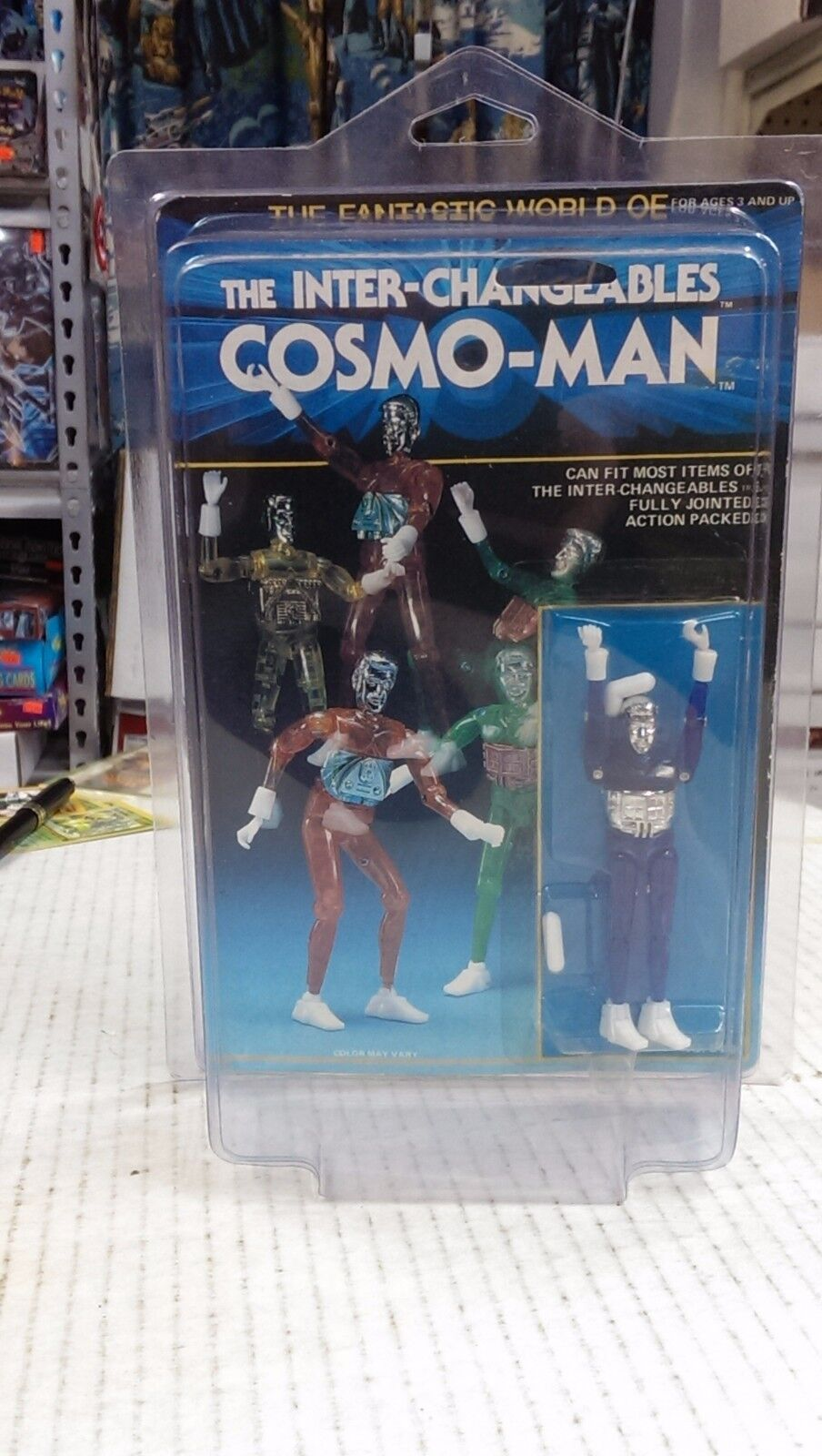 Inter-Changeables Cosmo-Man Action Figure MOC Blau Micronaut - RARE