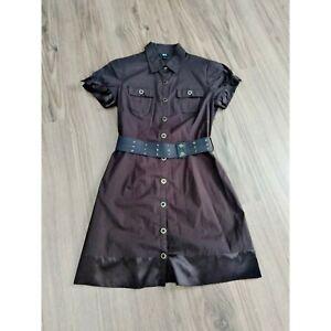 BCX-button-up-dress-with-belt-dress-Brown-size-L