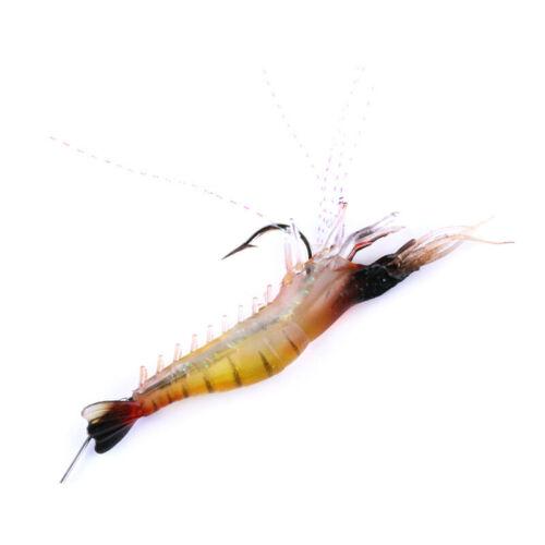 3pcs//lot Saltwater Soft Fishing Lures Luminous Silicone Shrimp Bait Hook