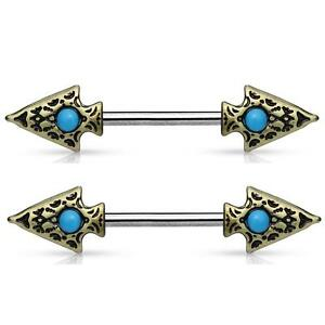 Pair of 316L Stainless Steel Turquoise Tribal Nipple Clicker Ring 14 Gauge 9//16