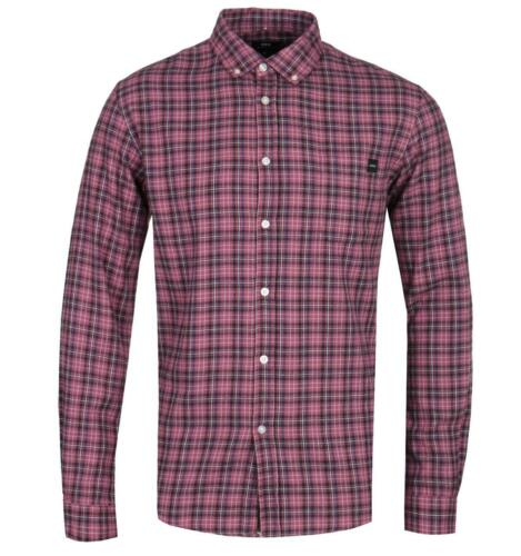 Edwin Standard Oxblood Red Checked Long Sleeve Shirt for Men