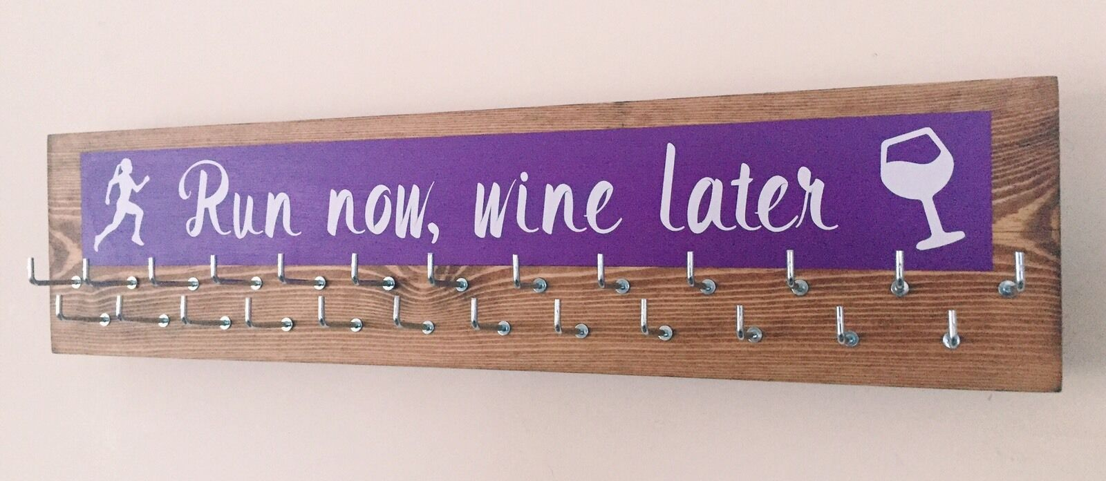 Run Now Wine Later  - Runner Sports Medal Hanger Holder Display