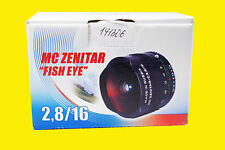Lens MC ZENITAR-M f/2.8/16mm Fish Eye. M42 vite Monte. NUOVA