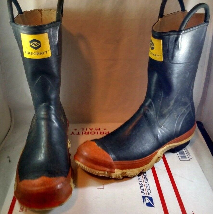 Firecraft Rubber Insulated Boots Pull On Steel Toe Fire Safety Work Size Men's 9