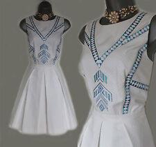 KAREN MILLEN White Jacquard Embroidered Cut Out Back Cotton Dress 14  EU 42 £180