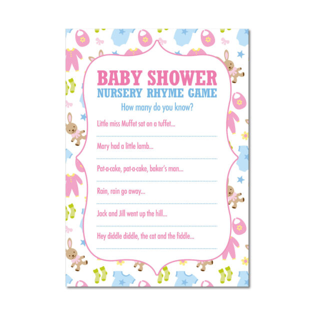 Baby Shower Nursery Rhyme Pack Of 16 Multi Coloured Boys S Fun