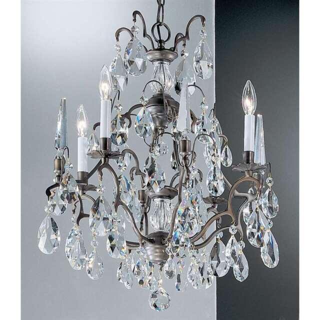 reputable site 383ec b4468 Classic Lighting 4-Light Versailles Antique Bronze Crystal Chandelier