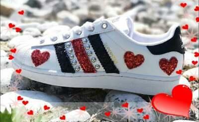 adidas superstar red glitter