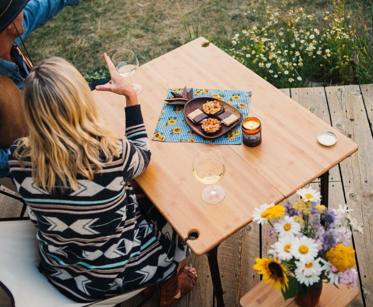 TravelChair Kanpai BAMBOO TABLE WINE GLASS HOLDER FOLDING PORTABLE WOOD LUXURY