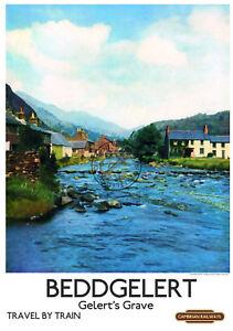 Beddgelert-VINTAGE-RAILWAY-POSTER-Train-Travel-ART-PRINT-Gelert-039-s-Grave-Wales
