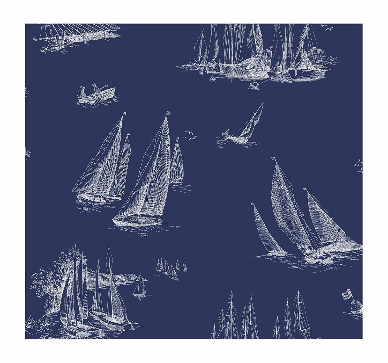 York Wallpaper AC6136 Nautical Living Sailboat Wallpaper, blueeprint bluee White