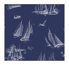 York Wallpaper AC6136 Nautical Living Sailboat Wallpaper, Blueprint Blue/White