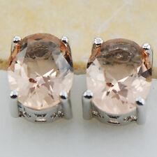 Morganite Silver Filled Gemstone Stud Earrings PE15