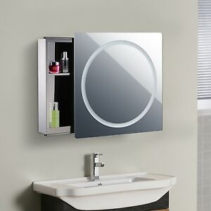 Exceptionnel Image Is Loading Bathroom Mirror Cabinet With LED Light Sliding Door
