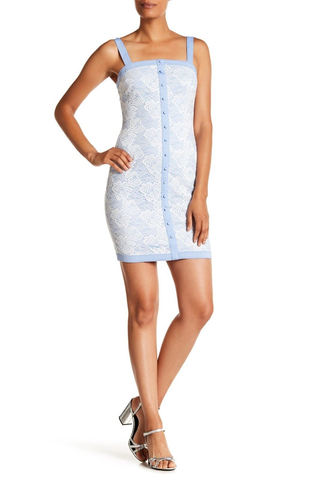 145 Authentic Rare GUESS Women's bluee Miss Sixty Front Button Lace Dress