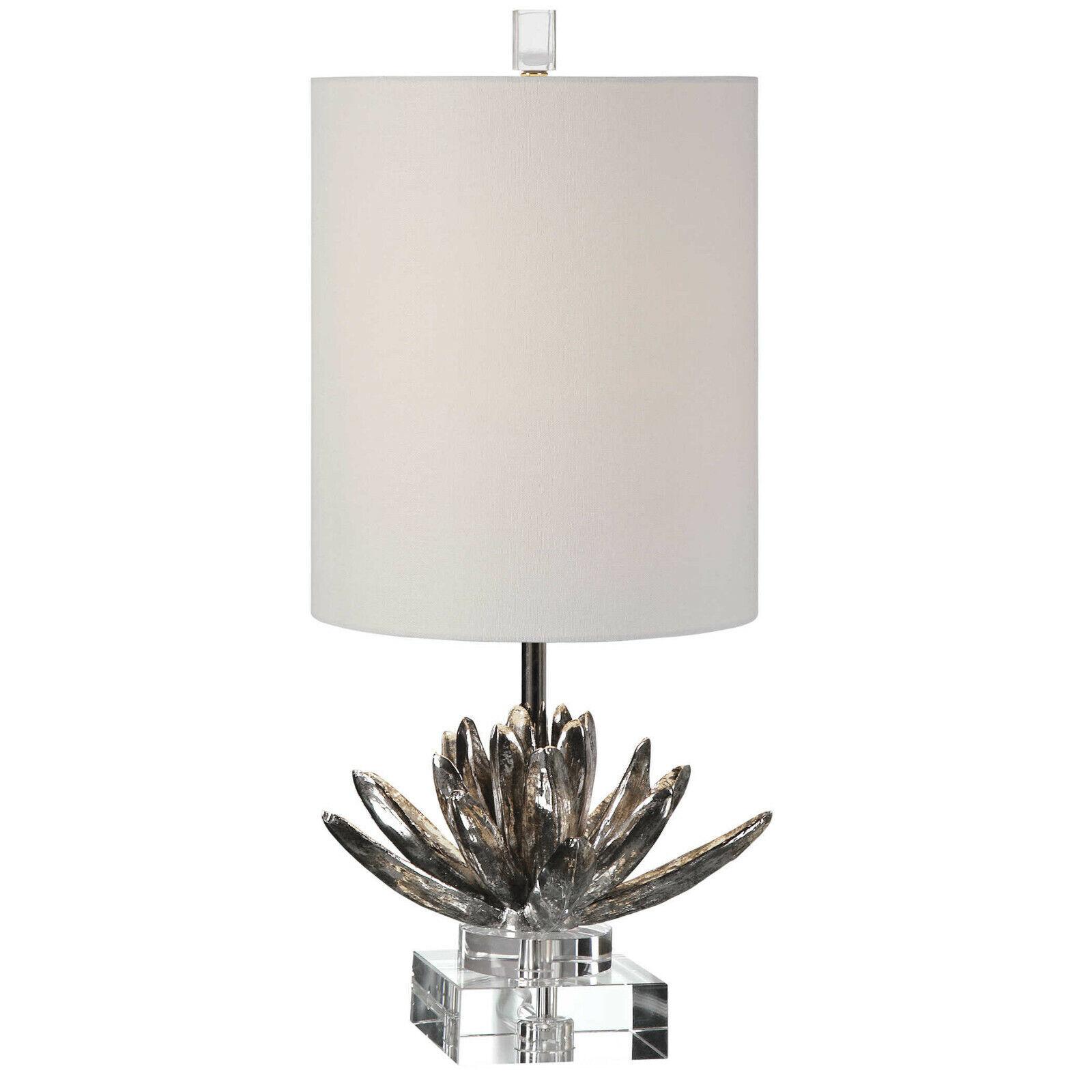 Lotus Flower Bloom Table Lamp Metallic Silver Crystal Base Uttermost 29256 For Sale Online
