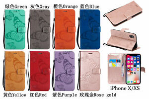 Flip 3D Embossed Butterfly Soft Leather Card Holder Phone Case Covers For iPhone