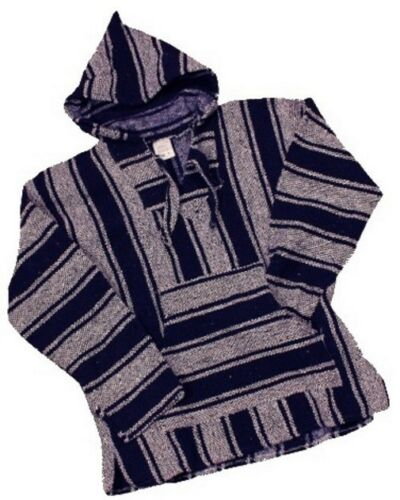 Woven Mexican Hooded Sweater Mexican Baja Hoodie Ponchos Surfer Drug Rug-NWT