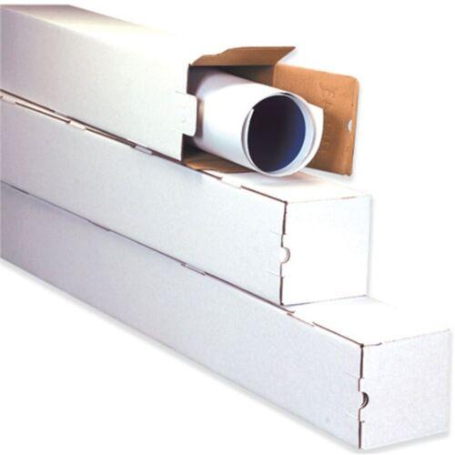 3x3x30 White Box Corrugated Square Mailing Tube Shipping Storage 50 Tubes