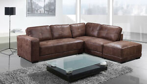 New Cheap Carlton Large Tan Leather Corner Sofa With Footstool ...