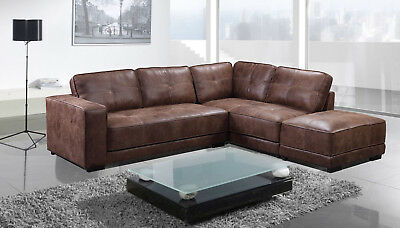 New Cheap Carlton Large Tan Leather Corner Sofa With Footstool - Sofa Sale  | eBay