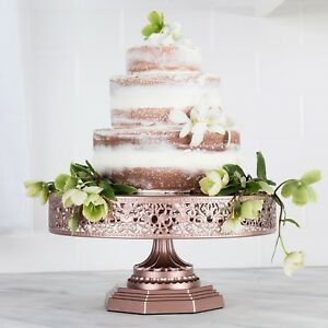 Image is loading 12-Inch-WEDDING-CAKE-STAND-Round-Metal-Event-  sc 1 st  eBay & 12-Inch WEDDING CAKE STAND Round Metal Event Party Display Pedestal ...