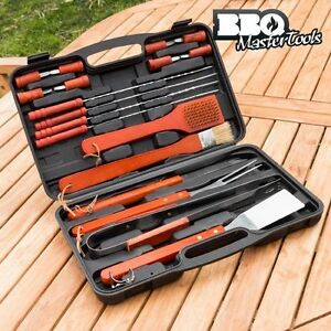 Quality-Barbeque-tools-18-Piece-BBQ-Master-Grill-stainless-steel-amp-wo-With-Case