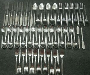 Stainless-Steel-Japan-Flatware-Single-Rose-63-Pieces-Forks-Spoons-Knives-MCM
