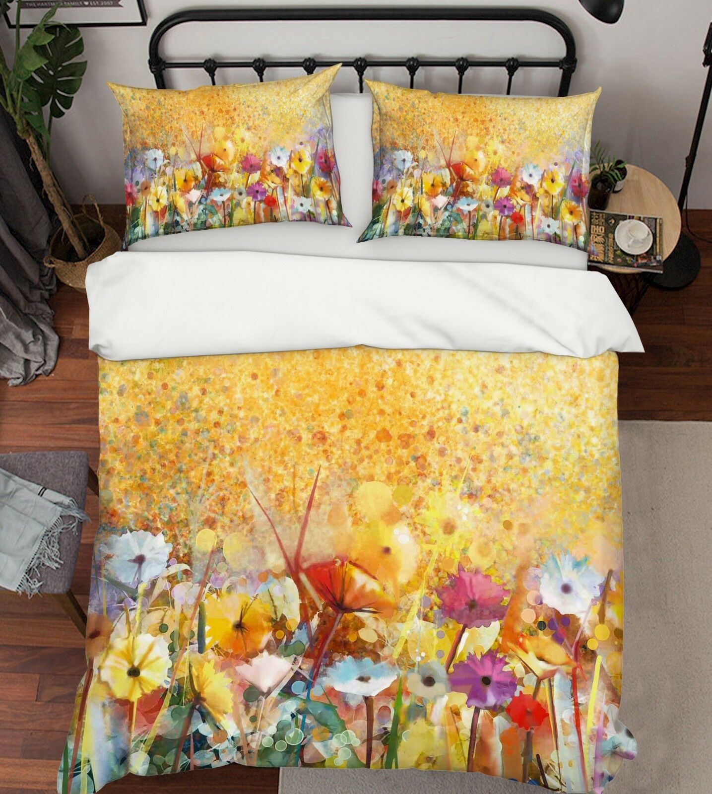 3D Blaumen Garten Ölgemälde 5 Bett Kissenbezüge steppen Duvet Decken Set Single