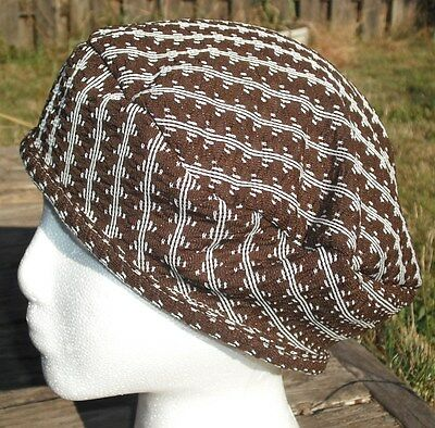 Brown/White Vintage Polyester Medium Size Beret - Handmade by Michaela