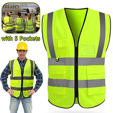 Neon Security Safety Vest High Visibility Reflective Stripes With5 Pockets Traffic
