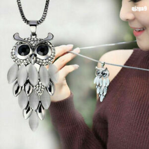 Women-Fashion-Long-Sweater-Chain-Crystal-Rhinestone-Owl-Pendant-Necklace-Jewelry