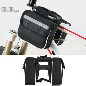 Bicycle Bike Handlebar Panniers Front Frame Tube Double Pouch Cycling Phone Bags