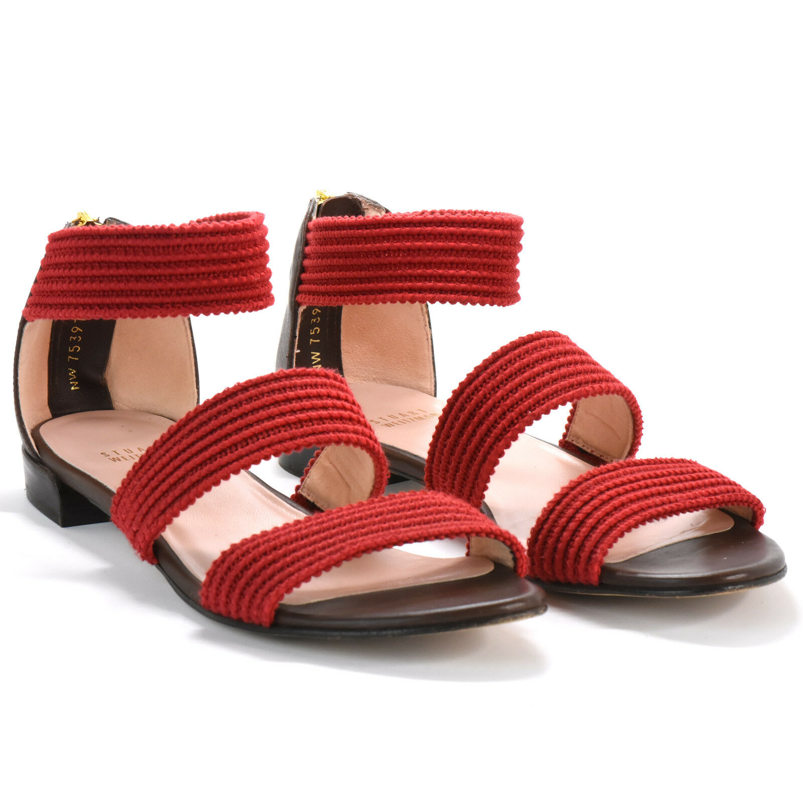 STUART WEITZMAN womens red sandals with zipper back 7 7 7 M 826476