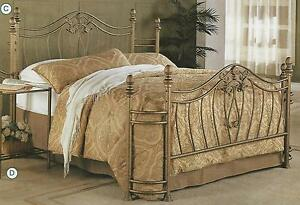 New Queen Or Full Size Gold Finish Iron Metal Headboard