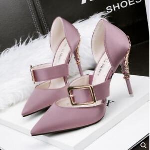 Ladies High Heels Pumps Buckle Satin Pointed-toe Stilettos Womens ... 51f600496d