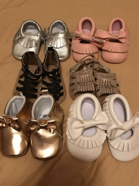 Baby Infant Girl Shoe Lot Of Soft Sole Crib Shoes Sandals ...