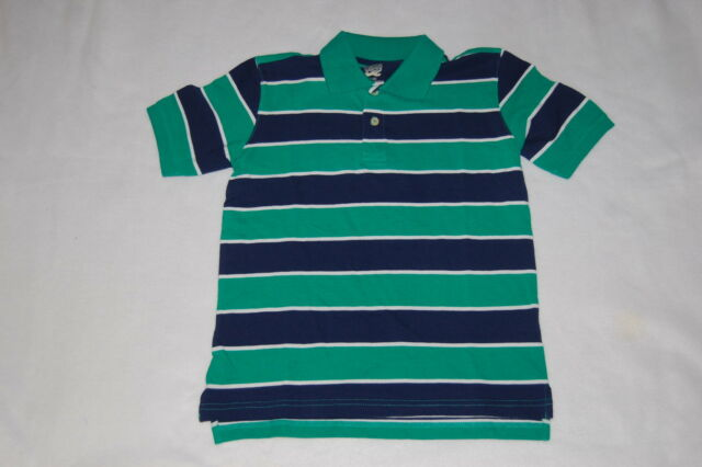 09b023e8d6df2 Boys S/s Polo Shirt Bright Green Navy Blue Stripe Dressy Casual Rugby Size  M 8
