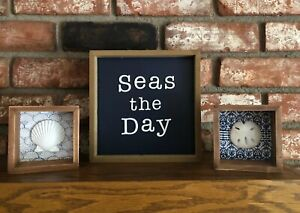 Details About Seas The Day Wooden Shell Box Beach Home Decor