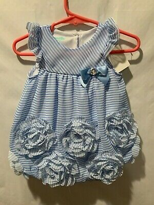 NWT Baby Gap Girls Size 3 6 12 Months Blue Striped Embroidered Bubble Romper