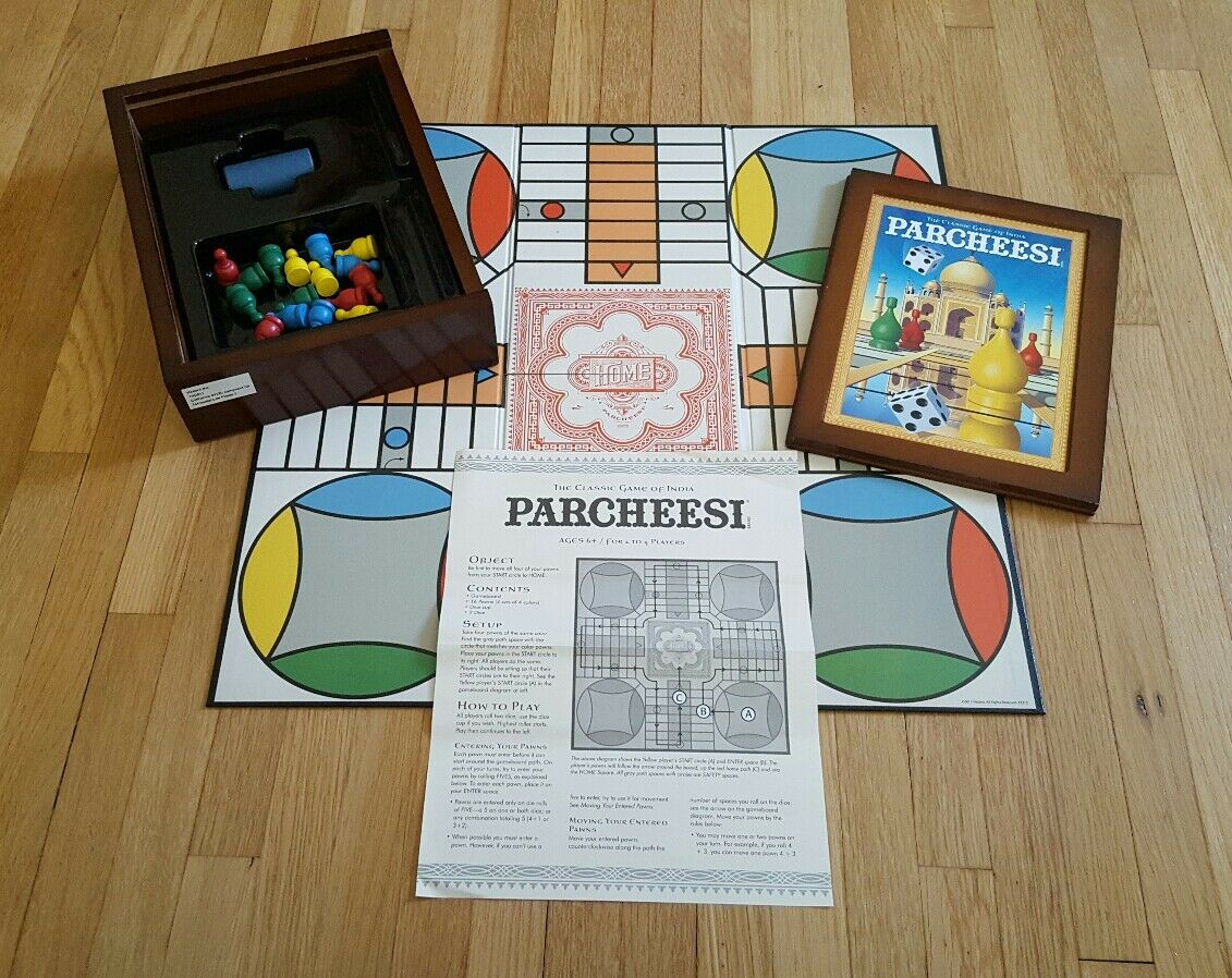 Al Parcheesi (juego de mesa, Colección Vintage) Caja de Madera Clásico rara completa